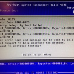 Dell Error Code 2000-0123 Memory Integrity Test Failed