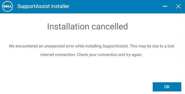 dell supportassist not working